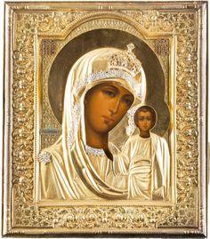 Virgin of Kazan,Moscow, silver gilt oklad, Ivan Vassilevitch Zakharov, 1908.  H Korban collection Russian Icons, Christianity, Mona Lisa, Artwork, Porcelain, Silver, Needlepoint, Gold, Moscow