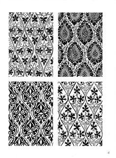 Black/white damasks