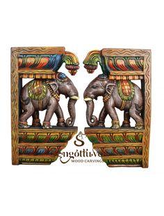 Elegant look elephant wall Brackets Wooden Elephant, Elephant Trunk, Elephant Head, Wood Crown Molding, Door Brackets, Dark Wax, Wooden Walls, Clay Art, Beautiful Birds
