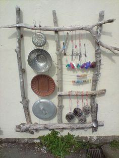 "Fab Recycled Musical Play Panel idea ("",) or summer fun for the musically inclined child. Looks so fun"