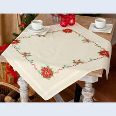 BUNDLE - Poinsettia and Ribbons - tablecloth + table runner - printed cross stitch kits - Vervaco