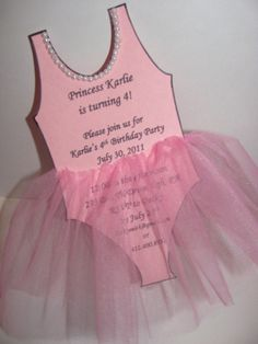 Ballerina tutu party invitations (This alone makes me want another girl) So cute!