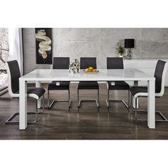 LIMA LUX - extendable dining table x 90 white high gloss table, seats up to