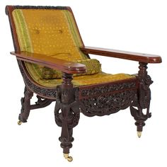 Superb 19th Century Anglo Indian Carved Plantation Or Planters Chair. Indian  FurnitureAntique ...