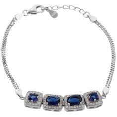 Define Jewellery Blue Silver American Diamond bracelet for Women (DFBC0027 )