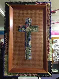 Gorgeous Beaded Cross on copper backing and leather and beads around the edges!!