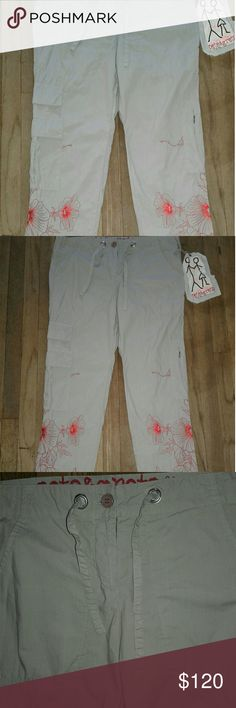 NWT Pete & Greta Drawstring Cargo Pant Size (5) Brand New Pete & Greta Floral Stitch Cargo Pant. Both Legs of the Pant Feature Red Stitch Floral Patterns. Inseam 30, Total Length 38, Waist 17 and Drawstring.  Comes w/Tag. Pete & Greta by Johnny Was Pants