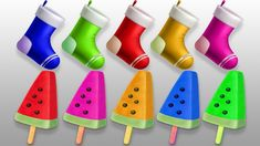Colors for Children to Learn with Christmas Socks and Watermelon Ice Cre...