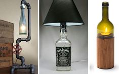 Amazing ideas and diy about how we can make easiy wine bottle lights. Here is some of the best collection of wine bottle lights with details. Lighted Wine Bottles, Cool Lighting, Creative Lamps, Lamp, Mirror Frames, Interior Deco, Lights, Home Decor, Hacks Diy