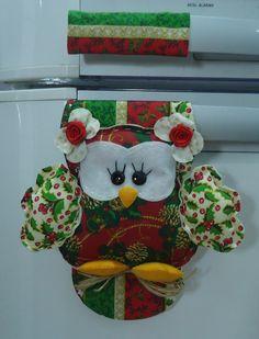 "Pegador Geladeira ""Coruja de Natal"" | LizArtesanatos | Elo7"