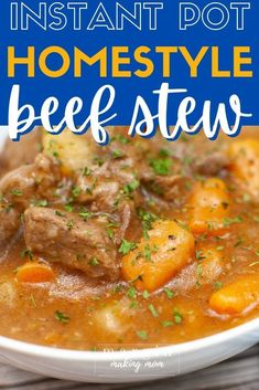 This homestyle pressure cooker beef stew is one of my favorite Instant Pot beef recipes! It's a simple way to have a hearty comfort food on the table fast. Pressure Cooker Beef Stew, Instant Pot Pressure Cooker, Pressure Cooker Recipes, Potted Beef Recipe, Curries, Beef Recipes, Soups, Chili, Beans