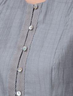 Grey Button-down Chanderi Kurta Buy Grey Button down Chanderi Kurta Shell: Lining: Cotton Up To Chudidhar Neck Designs, Salwar Neck Designs, Kurta Neck Design, Neck Designs For Suits, Neckline Designs, Kurta Designs Women, Dress Neck Designs, Designs For Dresses, Sleeve Designs