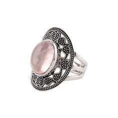 NOVICA Rose Quartz Paisley Motif Cocktail Ring from India (€38) ❤ liked on Polyvore featuring jewelry, rings, rose quartz, toplevelcatrings, statement rings, rose quartz jewelry, indian jewelry, rose quartz ring and novica jewelry