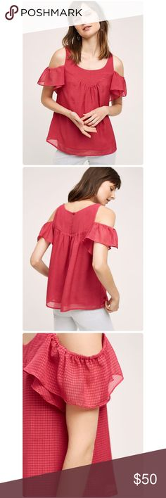 "💃HP💃Anthropologie Tavin Open-Shoulder Blouse NWT Tavin Open-Shoulder Blouse Anthropologie ❤️Polyester Open-shoulder silhouette Pullover styling Machine wash Imported Regular: 24.25""L color raspberry 💕 Anthropologie Tops Blouses"
