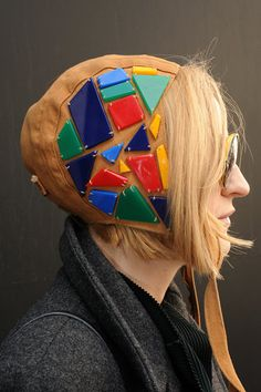 This LFW attendee sported an aviator hat adorned with multicolored stones.                  Source: Getty