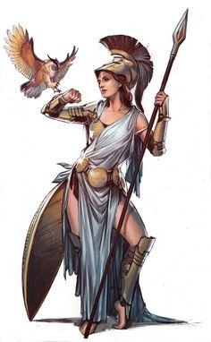 Athena by YamaOrce female god goddess archer hunter huntress warrior soldier fighter gladiator armor Greek And Roman Mythology, Greek Gods And Goddesses, Greek Goddess Mythology, Fantasy Kunst, Fantasy Art, Character Inspiration, Character Art, Writing Inspiration, Ancient Greece