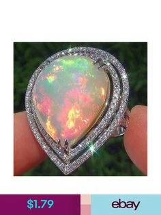 Buy Large 925 Solid Sterling Silver Nature Gemstone Ring Fire Opal Diamond Rings Bride Wedding Engagement Fine Jewelry Size 5 6 7 8 9 10 11 at Wish - Shopping Made Fun Opal Jewelry, Silver Jewelry, Fine Jewelry, Women Jewelry, Fashion Jewelry, Cheap Jewelry, Silver Earrings, Jewelry Rings, Jewlery