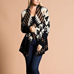 """""""Tribal Queen"""" Aztec Printed Cardigan Printed asymmetrical hem, draped cardigan with a faux leather trim. Keeping warm just became way more stylish. Perfect mix of colors and patterns. Brand new without tags. 100% acrylic. Absolutely no trades. Bare Anthology Jackets & Coats"""