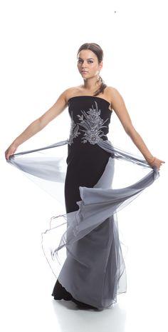 Etiquette Boutique black and grey silk dress, lucury dress, glam, evening