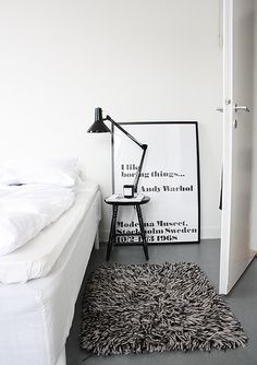 loving the tri-tone shag rug...and the moderna museet poster. Own that as a postcard.