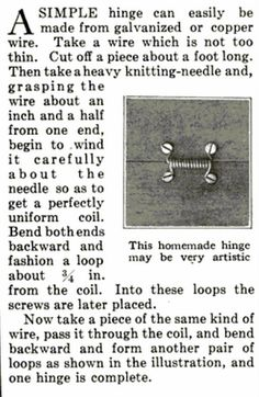 easy DIY hinge for small projects, found in a 1921 Popular Science