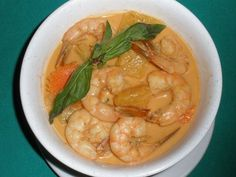 Pineapple Shrimp Curry :Shrimp with pineapple, basil, carrot, and bell pepper in red curry sauce. #Curry #Awesome Thai #Food forked.com