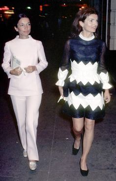Jackie O. and Lee Radziwill. This picture could have been taken today --their styles are timeless and modern.