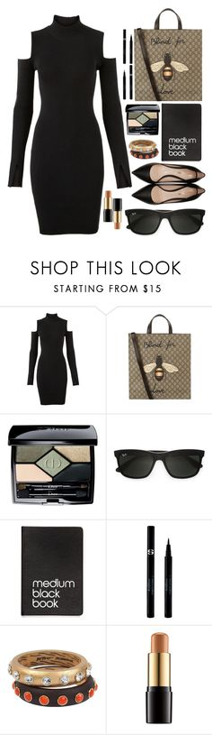 """""""Black and Tan"""" by sunnydays4everkh ❤ liked on Polyvore featuring Versus, Gucci, Christian Dior, Ray-Ban, Dinks, Sisley, Betsey Johnson, Lancôme and Nicholas Kirkwood"""