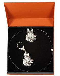 NEW, German Shepherd, dog keyring and necklace in casket, PRESTIGE set, limited edition, ArtDog *** Visit the image link more details.