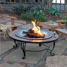 TILED FIREPIT TABLE: fire table with matching benches?  Might have room for 30 tiles...