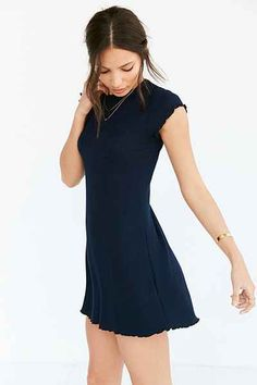 BDG Cap-Sleeve Camper Pocket Rib Dress - Urban Outfitters