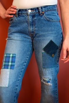 70's style patched jeans !