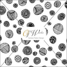 Copyright - Hannah Heys Surface Pattern Design and Illustration - Buttons and Yarn Sketch - more designs at http://www.oneoffworks.com/surface-design/
