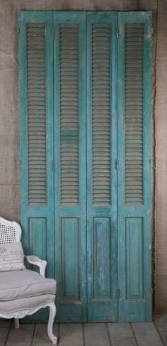 Vintage French Wood Painted blue Architectural Shutters great finish