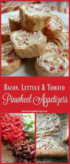 Bacon, Lettuce & Tomato Pinwheel Appetizers – Older Mommy Still Yummy Loading. Bacon, Lettuce & Tomato Pinwheel Appetizers – Older Mommy Still Yummy Finger Food Appetizers, Appetizers For Party, Appetizer Recipes, Delicious Appetizers, Mexican Appetizers, Halloween Appetizers, Tomato Appetizers, Parties Food, Avacado Appetizers