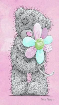Tatty Teddy flower pink Teddy Photos, Teddy Bear Images, Teddy Bear Pictures, Tatty Teddy, Teddy Beer, Kids Cartoon Characters, Cute Bear Drawings, Blue Nose Friends, Baby Posters