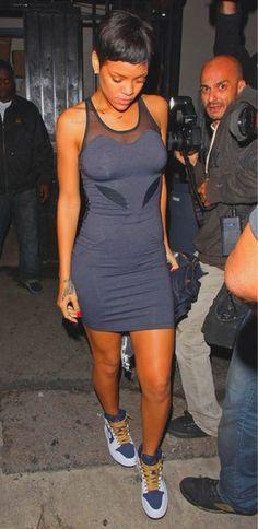Rihanna in a dope dress w/ nikes