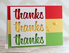 New Thanks Word Die from Lil' Inker Designs was used to diecut a banner and was added to a striped background of cardstock with foam adhesive.