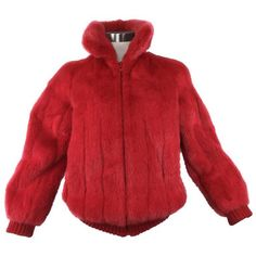 Preowned Cardinal Red Reversible Mink Bomber Jacket. 1980's. (15.310 CZK) ❤ liked on Polyvore featuring outerwear, jackets, red, vintage flight jacket, vintage 80s jacket, ski jackets, red ski jacket and vintage ski jacket