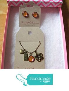 Antiqued Gold-Tone Glitter Glass Heart Flower Believe Tag Charm Pendant Necklace and Stud Earrings SET Pink from Summerfield Collection http://www.amazon.com/dp/B019M4S150/ref=hnd_sw_r_pi_dp_0tEGwb0S97S1X #handmadeatamazon