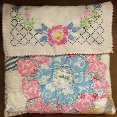 Pillow using vintage embroidered linen and old quilt piece ... seen in Giddings, Texas