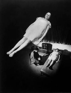 Composite photo of patient in deep hypnotic trance, appearance of floating in space, observing Dr. Gindes, 1967 by Ralph Crane Dr Bernard, Spirit Photography, Horror Photography, Vintage Photography, White Photography, Floating In Space, Sleep Paralysis, Out Of Body, Astral Projection