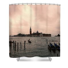 "Other Venice 2 Shower Curtain by Marina Usmanskaya.  This shower curtain is made from 100% polyester fabric and includes 12 holes at the top of the curtain for simple hanging.  The total dimensions of the shower curtain are 71"" wide x 74"" tall            #MarinaUsmanskayaFineArtPhotography , Art For Home,Art Prints, venice,Italy,Home Design, Bath"