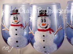 Blue Snowmen Wine Glasses by slugger1st on Etsy, $60.00