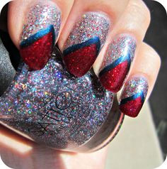 Concrete and Nail Polish: Red, White, & Blue Nails