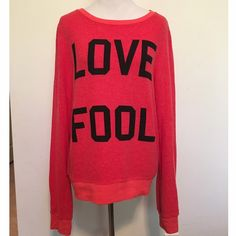 🎉SALE🎉Wildfox Love Fool Jumper Super soft and cozy Wildfox Love Fool jumper in Hot Red. Size S. Worn once. In excellent condition. Natural pilling that is normal for this brand. Fits like an oversized S. Could also fit M, depending on how you like the fit. ❌ NO TRADES ❌ NO LOWBALLING ❌ Wildfox Tops Sweatshirts & Hoodies