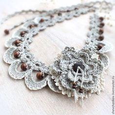 Linen crochet necklace / Колье, бусы ручной работы. Ярмарка Мастеров - ручная работа. Купить Колье вязаное из льна. В стиле бохо.. Handmade.