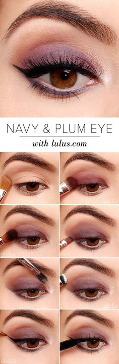 Best Eyeshadow Tutorials - Navy and Plum Smokey Eyeshadow Tutorial - Easy Step by Step How To For Eye Shadow - Cool Makeup Tricks and Eye Makeup Tutorial With Instructions - Quick Ways to Do Smoky Eye, Natural Makeup, Looks for Day and Evening, Brown and Blue Eyes - Cool Ideas for Beginners and Teens http://diyprojectsforteens.com/best-eyeshadow-tutorials