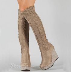 Fashion Knitting Wedge Heels Knee High Forget A Boot It From The Plus Size Fashion Community At www.VintageAndCurvy.com