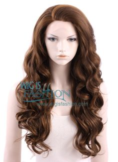 New Long 60CM Dark Brown Curly Wavy Lace Front Synthetic Hair Wig